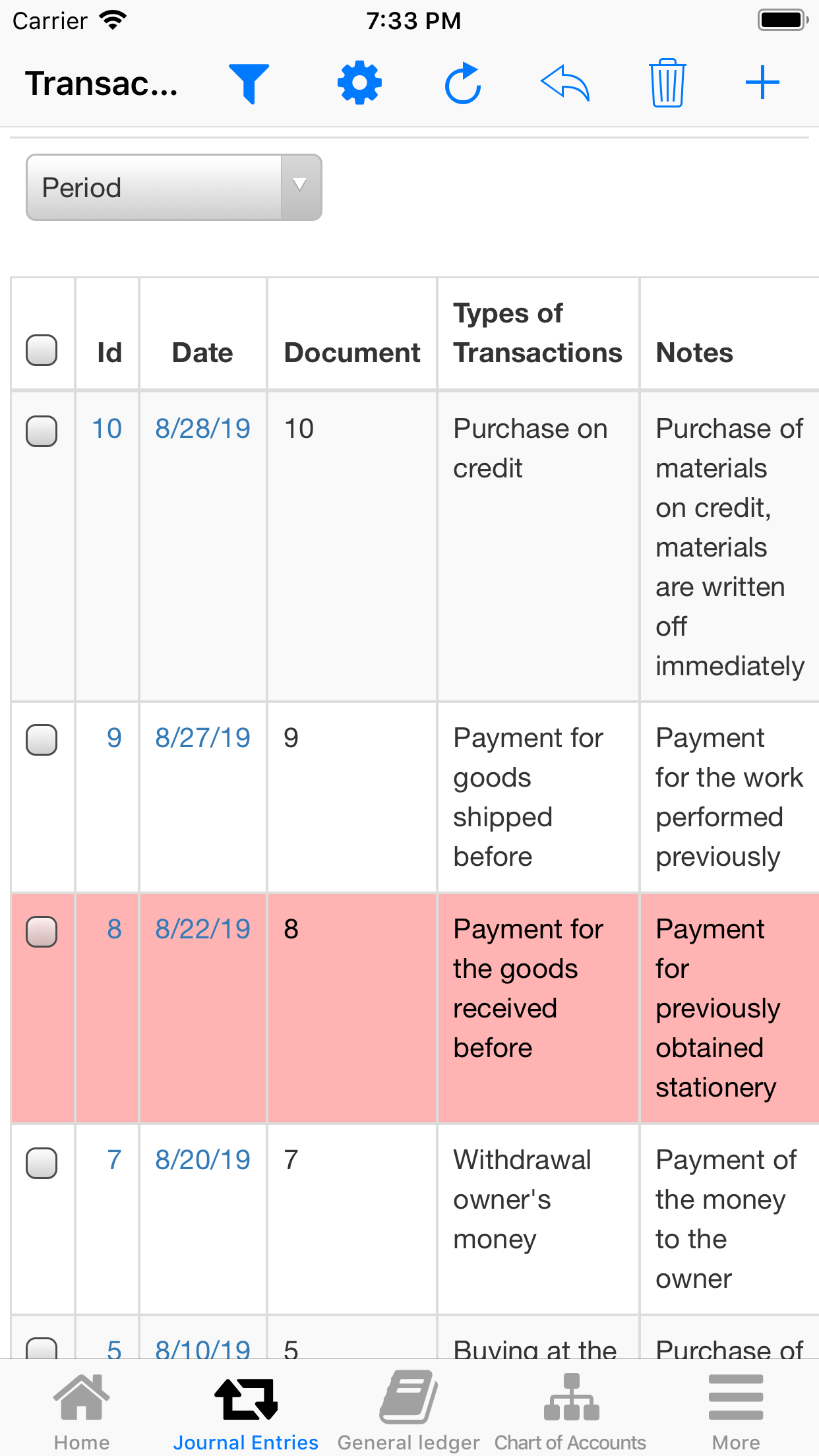 Nano Balance Sheet. List of Transactions