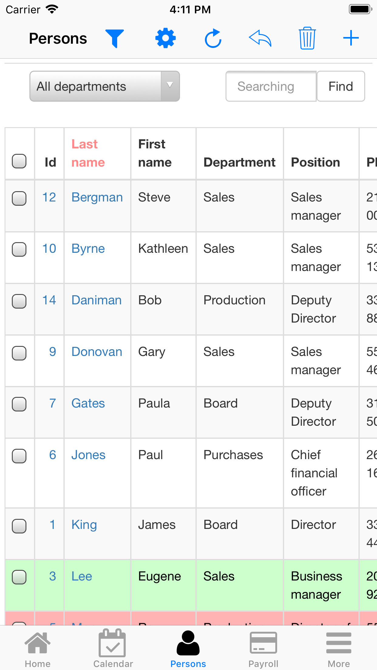 Nano Employee Timesheet. Staff list