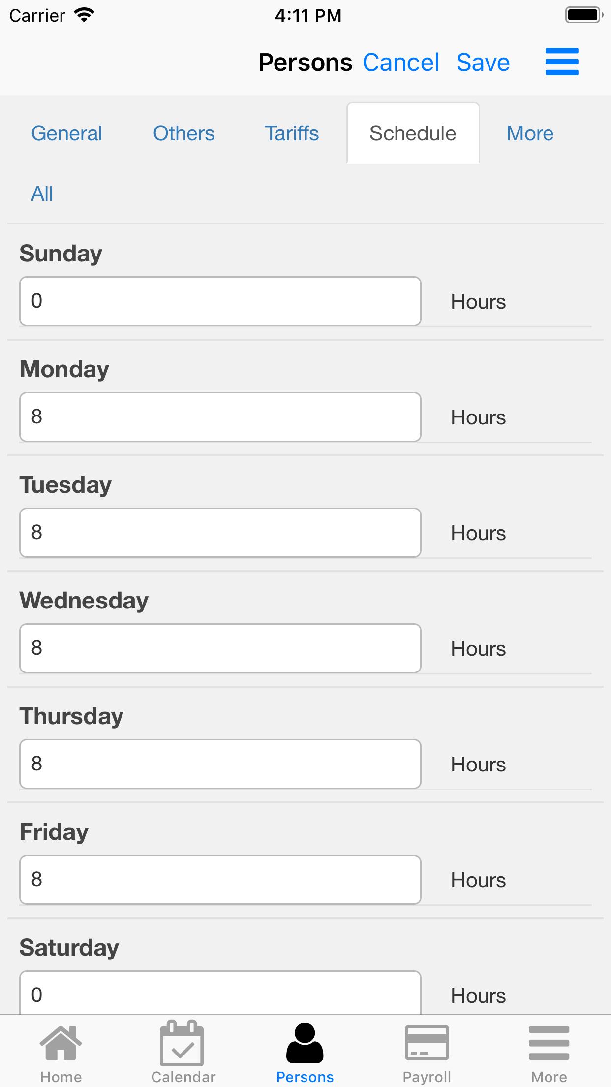 Nano Employee Timesheet. Rates