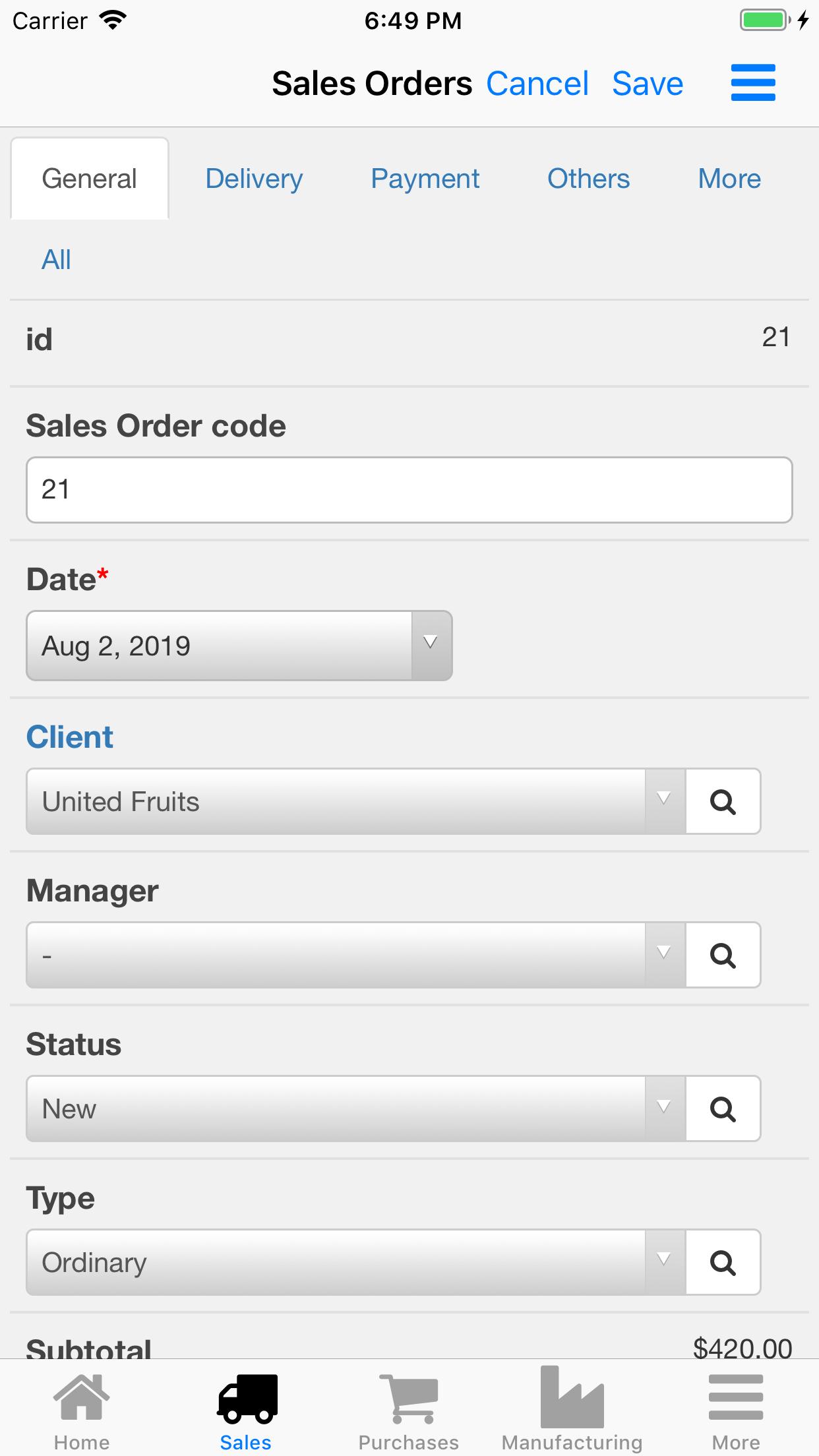 Nano Enterprise Management. Sales orders card