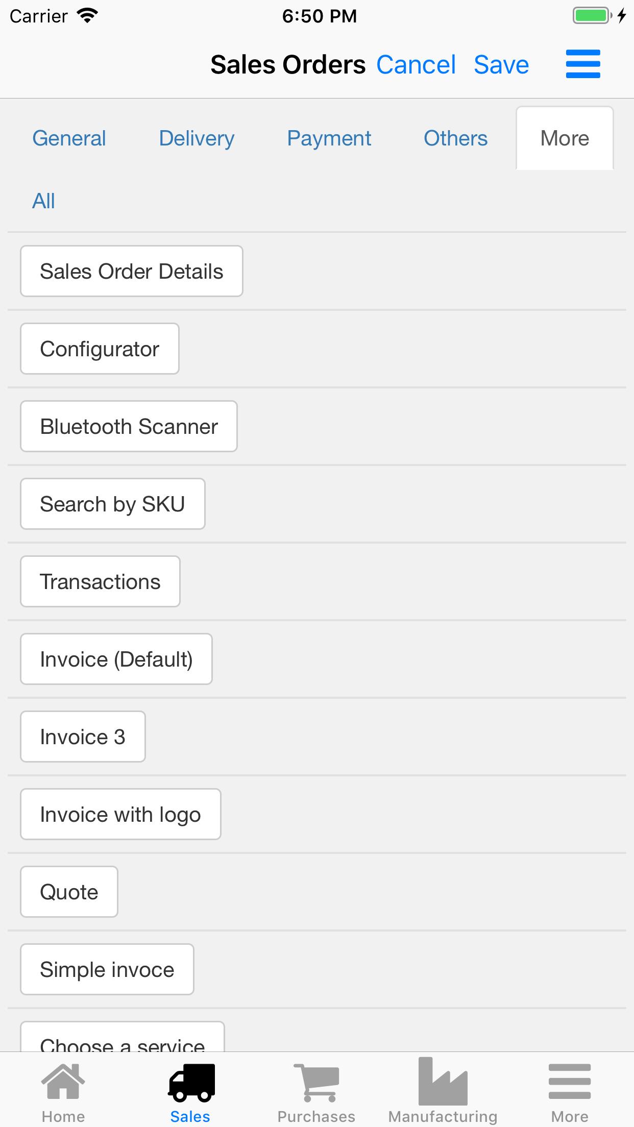Nano Enterprise Management. Sales orders options