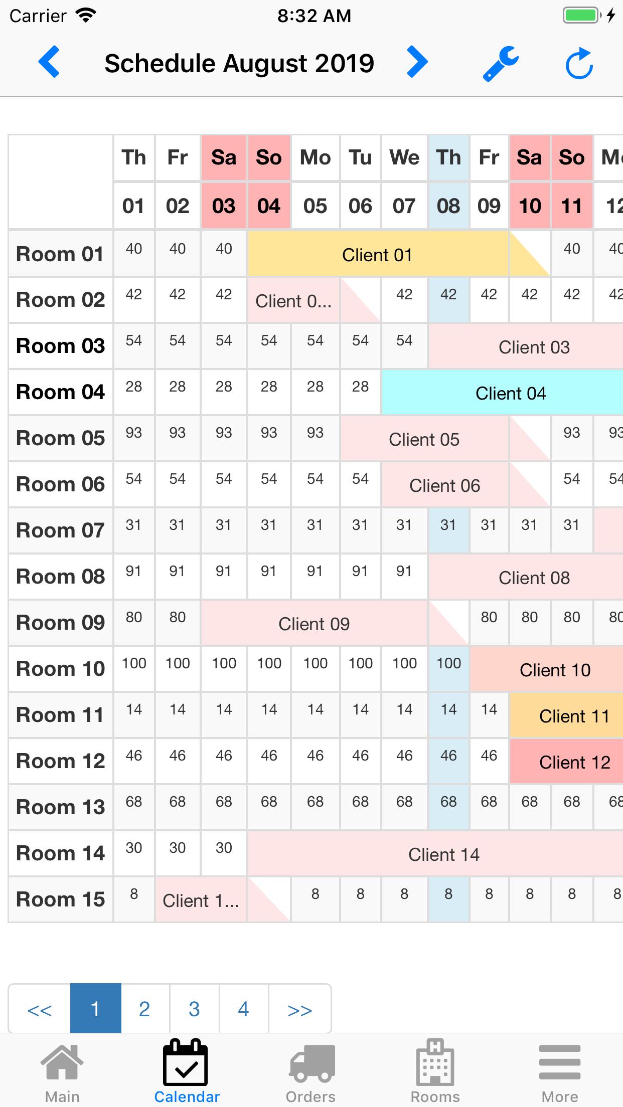 Nano Hotel Booking. Booking calendar