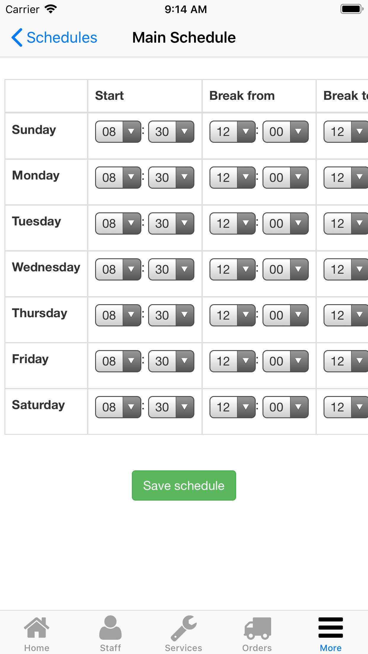 Nano Service Booking. Work schedule