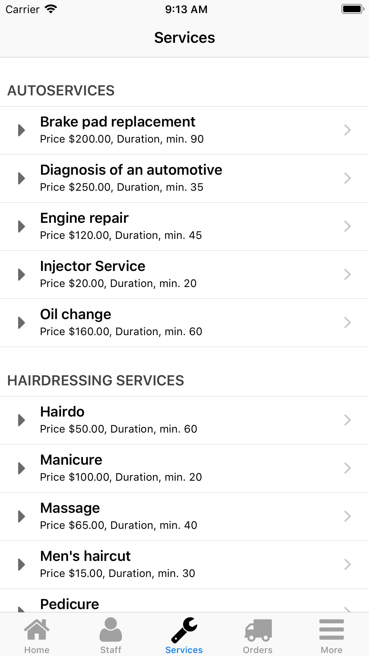 Nano Service Booking. Service selection