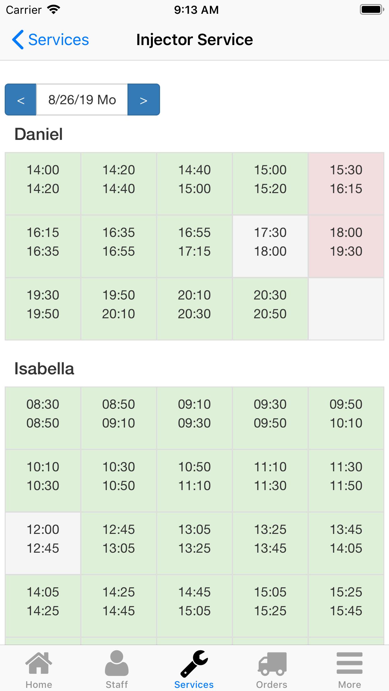 Nano Service Booking. Time selection