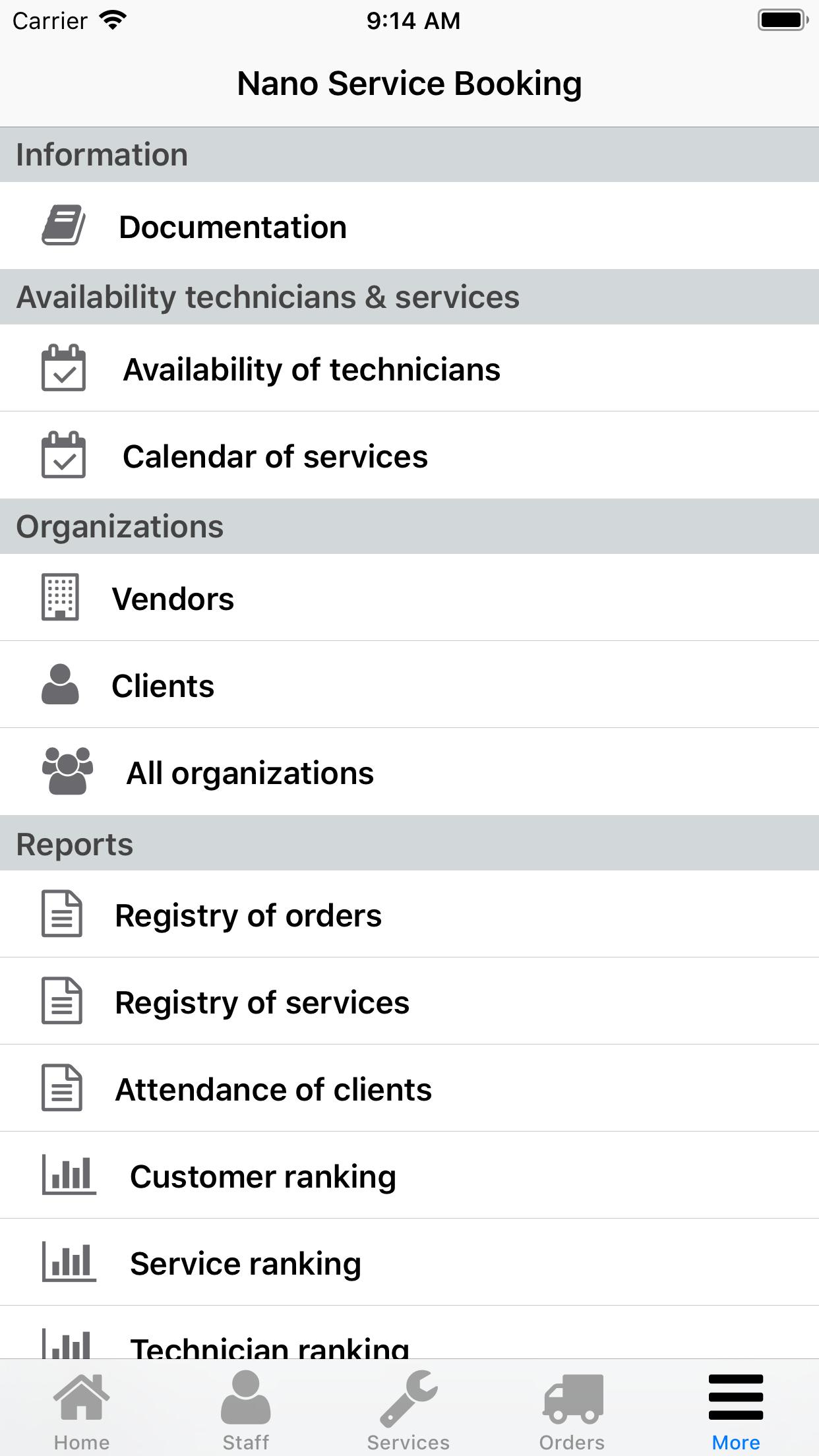 Nano Service Booking. Menu