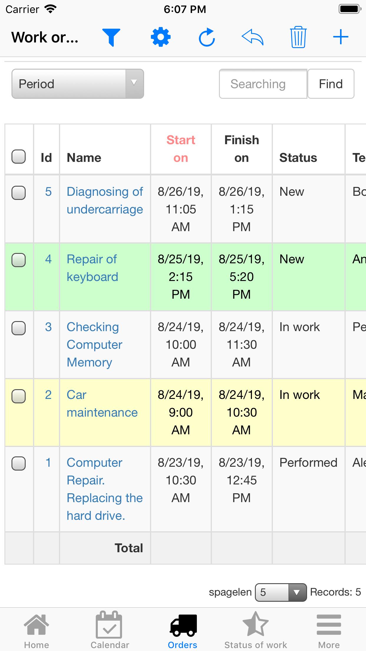 Nano Service Management. Work Orders list