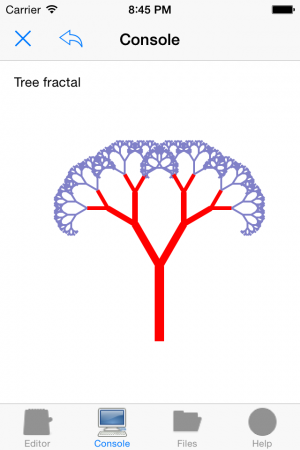 Nano C: Tree fractal